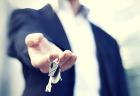 Sales career holding car keys