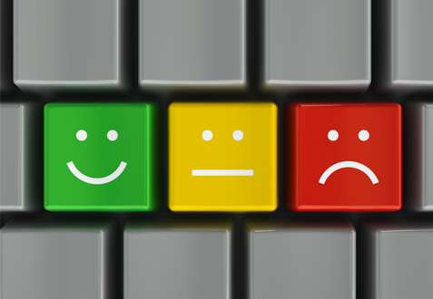 smiley and sad feedback faces