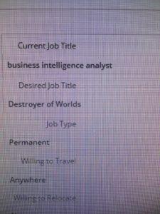 Awkward job seeker error